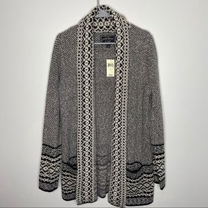 NWT Lucky Brand Tribal Draped Open Cardigan Lg